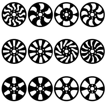 tubeless: Car alloy wheels illustration