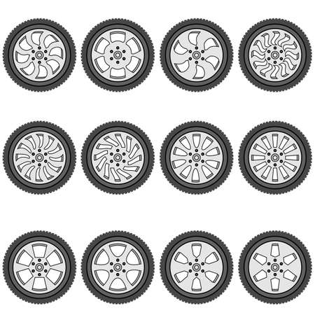 tubeless: automotive wheel with alloy wheels illustration Illustration