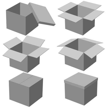 Six boxes, isolated on white background  Vector illustration  Vector