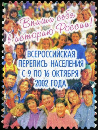 censo: Rusia - alrededor de 2002: Un sello de correos impreso en Rusia dedicado censo de poblaci�n de toda Rusia. circa 2002 Editorial