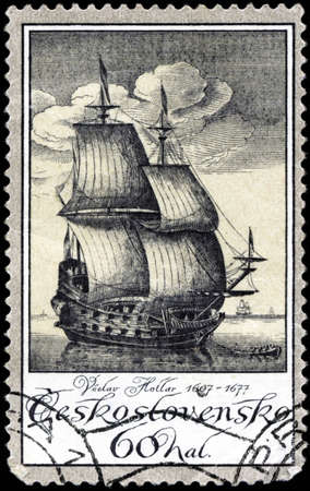 CZECHOSLOVAKIA - CIRCA 1976: A stamp printed in Czechoslovakia, shows old engravings of ships by Vaclav Hollar (1607-7167), circa 1976 Stock Photo - 18193523