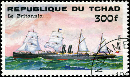 britannia: REPUBLIC OF CHAD - CIRCA 1984: A stamp printed in Republic of Chad shows the ship Le Britannia, series is devoted to sailing vessels, circa 1984