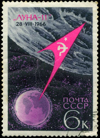 USSR - CIRCA 1966: stamp printed in the USSR  shows Luna-11 - rocket flight to the moon with inscription 'Luna-11, 28 VIII 1966',  circa 1966 Stock Photo - 18478324