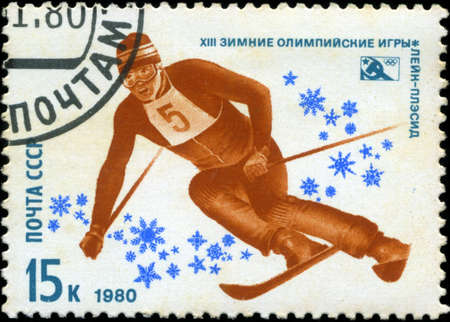USSR-CIRCA 1980: A stamp printed in the USSR, dedicated XIII Winter Olympic Games, Lake Placid, mountain slalom, circa 1980 Stock Photo - 18478232