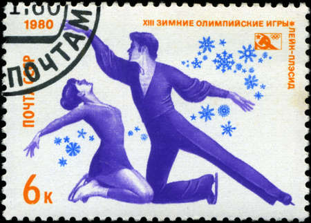 USSR-CIRCA 1980: A stamp printed in the USSR, dedicated XIII Winter Olympic Games, Lake Placid, figure skating, circa 1980 Stock Photo - 18478229