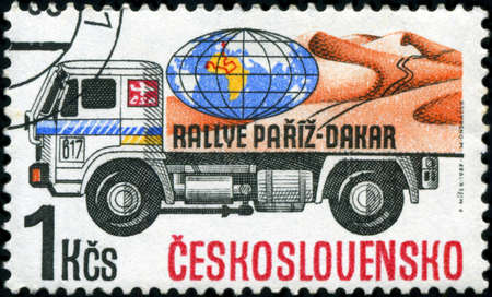 CZECHOSLOVAKIA - CIRCA 1989: A Stamp printed in Czechoslovakia devoted truck competition on Rally Paris - Dakar, circa 1989 photo