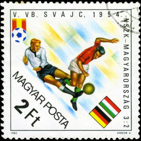 HUNGARY - CIRCA 1982: A stamp printed in Hungary, shows football players, inscription 'Germany - Hungary 3:2, 1954', circa 1982