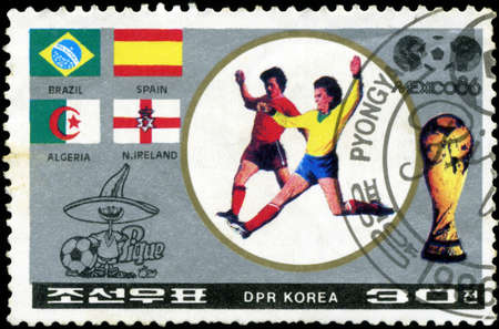 NORTH KOREA - CIRCA 1986: A stamp printed by North Korea, shows World Cup soccer Championships, Mexico City, circa 1986.