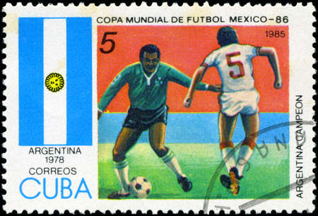 CUBA - CIRCA 1985: Stamp, printed in Cuba showing world championship on football in Mexico (in 1986), circa 1985 Stock Photo - 18478295
