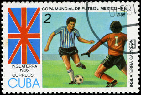 CUBA - CIRCA 1985: Stamp, printed in Cuba showing world championship on football in Mexico (in 1986), circa 1985 Stock Photo - 18478289