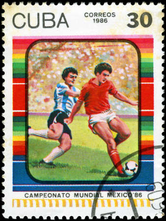 CUBA - CIRCA 1985: Stamp, printed in Cuba showing world championship on football in Mexico (in 1986), circa 1986 Stock Photo - 18478290