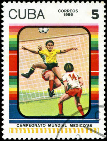 CUBA - CIRCA 1985: Stamp, printed in Cuba showing world championship on football in Mexico (in 1986), circa 1986
