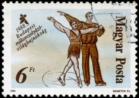 HUNGARY - CIRCA 1988: A stamp printed in Hungary, shows Skaters from 19th century, with inscription and name of series 'World Figure Skating Championships, Budapest, 1988', circa 1988
