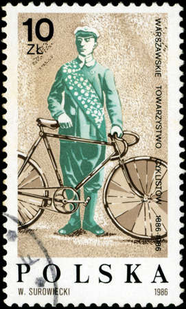 POLAND - CIRCA 1986: A stamp printed in Poland devoted 100 years of the Warsaw Society of cyclists, circa 1986
