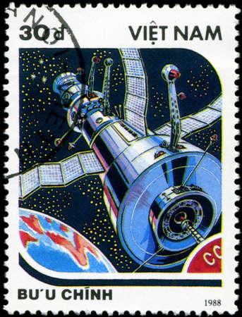 viet nam: VIETNAM - CIRCA 1988: A stamp printed in Vietnam shows futuristic Spaceship, circa 1988