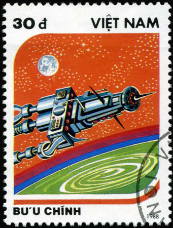 circa: VIETNAM - CIRCA 1988: A stamp printed in Vietnam shows futuristic Spaceship, circa 1988