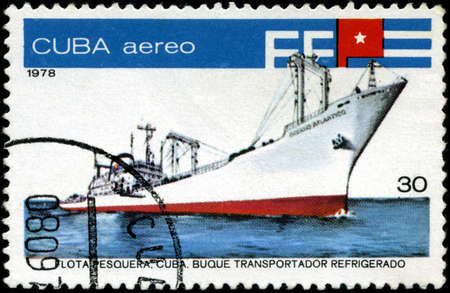 fishing fleet: CUBA - CIRCA 1978: A stamp printed by Cuba shows an  transport refrigerator ship , stamp from series devoted fishing fleet of Cuba, circa 1978. Stock Photo