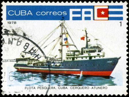fishing fleet: CUBA - CIRCA 1978: A stamp printed by Cuba shows an ship cerquero tunny fisherman, stamp from series devoted fishing fleet of Cuba, circa 1978.