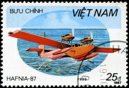 avia: VIETNAV - CIRCA 1987: A stam printed in Vietnam shows amphibian 1923, circa 1987