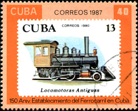 CUBA - CIRCA 1987: A Stamp printed in the Cuba shows antique locomotive, Cuban Railway, 150th anniversary, series, circa 1987 photo