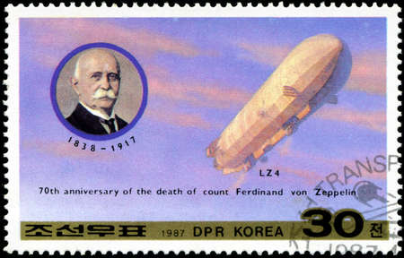 ferdinand: DEMOCRATIC PEOPLES REPUBLIC (DPR) of KOREA - CIRCA 1987: A stamp printed in DRK Korea (North Korea) honoring 70th annivversary of the death of count Ferdinand von Zeppelin, circa 1987
