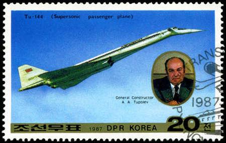 DPR KOREA - CIRCA 1987: A stamp printed in DPR Korea (North Korea) shows Tu-144 and General Designer Tupolev, circa 1987