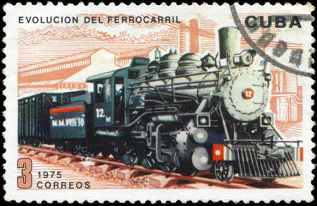 philatelic: CUBA - CIRCA 1975   A post stamp printed in Cuba shows moving train and devoted evolution of railway traffic,series  Circa 1975