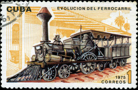 CUBA - CIRCA 1975   A post stamp printed in Cuba shows moving train and devoted evolution of railway traffic,series  Circa 1975 photo