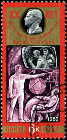 yuri: USSR - CIRCA 1980: A stamp printed in the USSR shows training of cosmonauts, one stamp from series honoring Yuri Gagarin Cosmonauts Training Center, circa 1980 Editorial