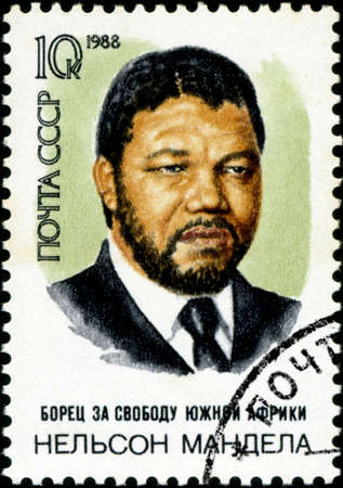 mandela: USSR - CIRCA 1988: A stamp printed in USSR shows Nelson Rolihlahla Mandela, South African anti-apartheid leader, circa 1988