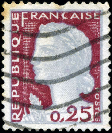 marianne: FRANCE - CIRCA 1960: A stamp printed in France shows Marianne, type Decaris, circa 1960.