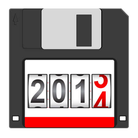 new year counter:  Old floppy disc for computer data storage with 2014 New Year counter isolated on white background Illustration