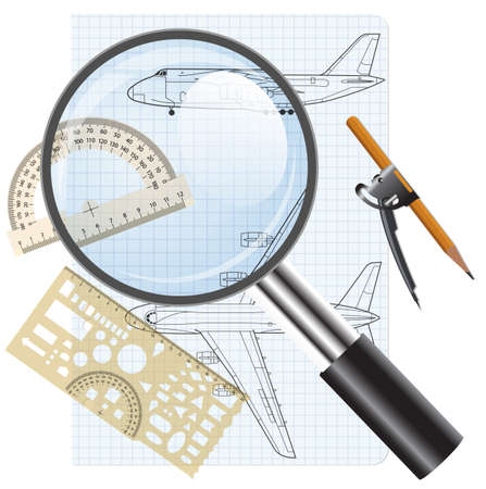 Magnifying glass icon, drawing   aircraft Vector