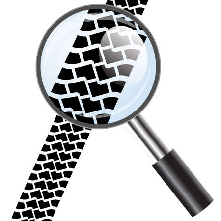 Magnifying glass icon, trail tires Vector
