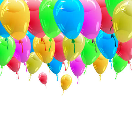 Background with glossy multicolored balloons  Vector