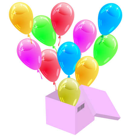 Glossy multicolored balloons flying out of the cardboard box   Vector