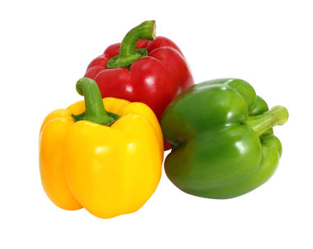 Red green and yellow sweet  bell pepper isolated on white background photo