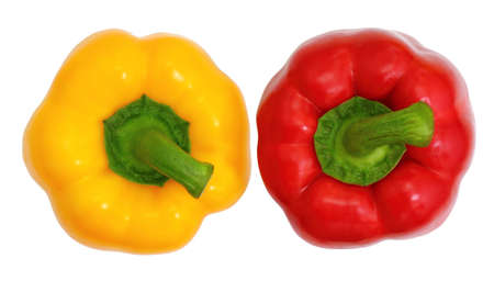 Top view, red and yellow sweet  bell pepper isolated on white background photo