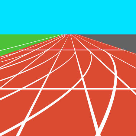 racecourse: Red treadmill at the stadium with white lines.  vector illustration. Illustration