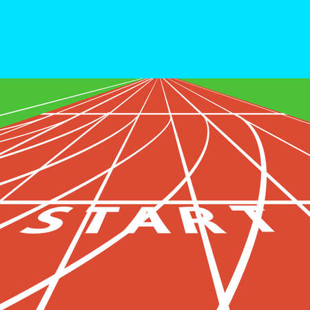 Red treadmill at the stadium with white lines.  vector illustration. Vectores
