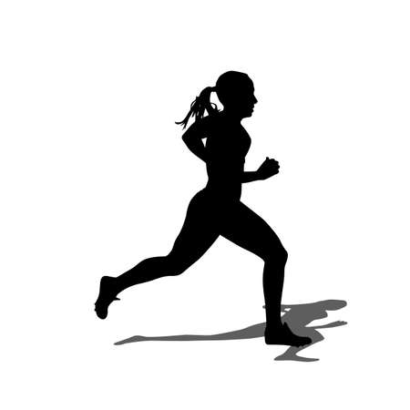 female athletes: Running silhouettes. Vector illustration.