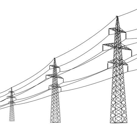 volts: Silhouette of high voltage power lines. Vector  illustration.