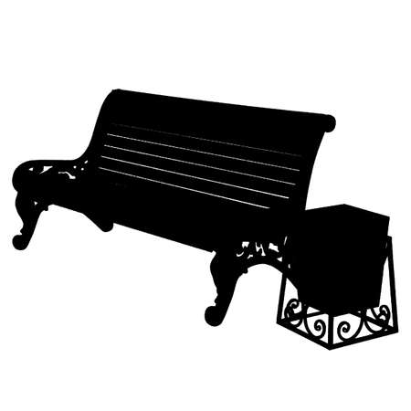 wooden bench with an urn isolated on white background. Vector illustration. Vector