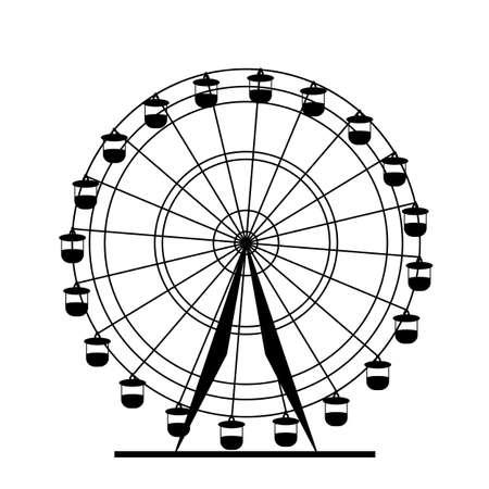 Silhouette atraktsion colorful ferris wheel. Vector  illustration. Illustration