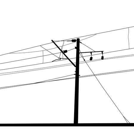 conjoin: Railroad overhead lines. Contact wire. Vector illustration.