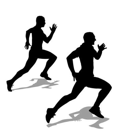 Running silhouettes illustration. Vector