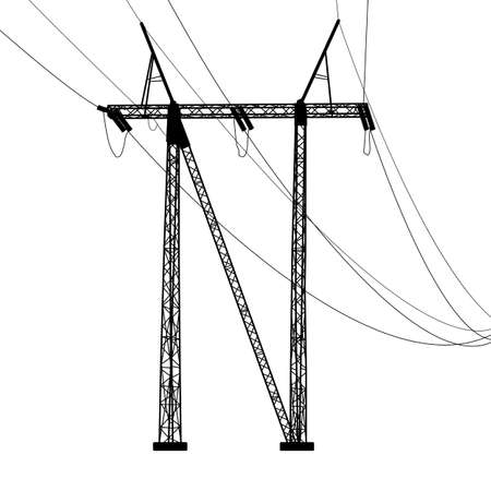 powerline: Silhouette of high voltage power lines Illustration