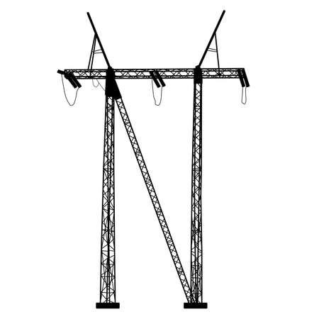 Silhouette of high voltage power lines Illustration