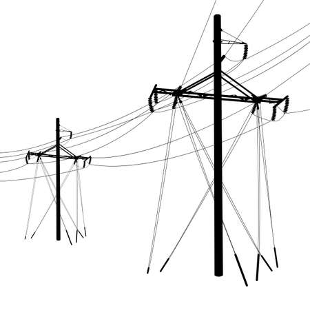insulators: Silhouette of high voltage power lines. Vector  illustration.