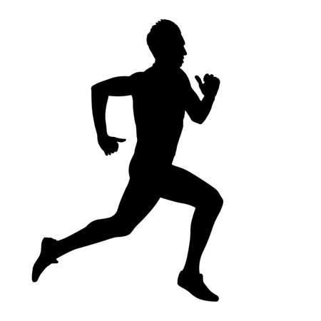 hombre deportista: Ejecuci�n de siluetas ilustraci�n.